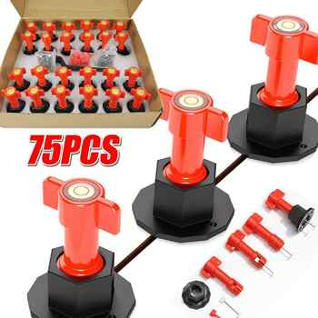 75Pcs Flat Ceramic Floor Wall Construction Tools Reusable Tile Leveling System Kittile Leveling System Locator Kit For Tile - DISCOUNT ITEM  30 OFF Tools