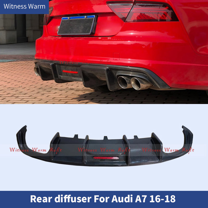 For <font><b>A7</b></font> Carbon fiber FRP High Quality <font><b>Rear</b></font> Bumper Lip <font><b>Diffuser</b></font> Spoiler For <font><b>Audi</b></font> <font><b>A7</b></font> S7 Sline Sport 2016 2017 2018 2019 Car Styling image
