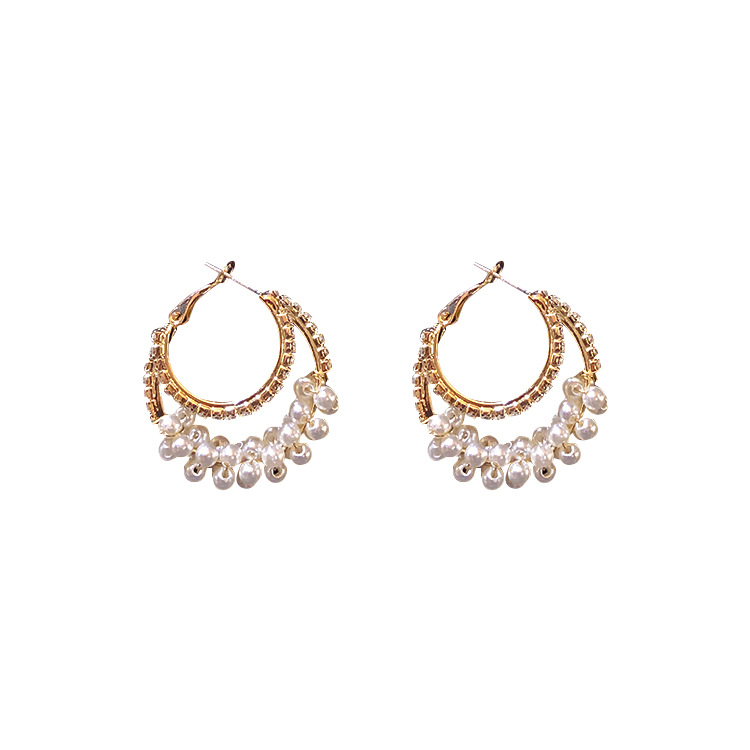 925 silver needle Korean east gate circle of literature literature and literature with pearl gold earrings and earrings in Drop Earrings from Jewelry Accessories