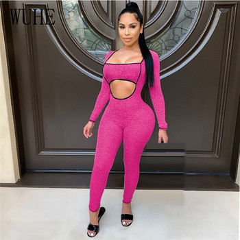 WUHE Workout Activewear Square Neck Romper Women Jumpsuit Autumn Long Sleeve Fitness Bodycon Streetwear Sexy Cut Out Overalls long sleeve asymmetric cut out tee