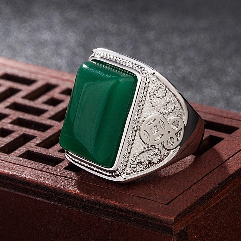 Ethnic Emerald Gemstone Men Ring Natural Green Jade Silver 925 Rings For Men Wedding Party Retro Vintage Fine Jewelry Best Gifts