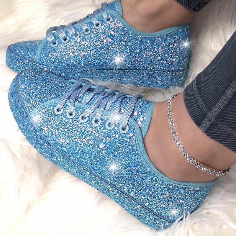 Spring Women Lace Up Sneakers Glitter Flat Vulcanized Shoe Woman Ladies Bling Casual Female Fashion Platform Plus Size 2020