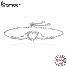 BAMOER Genuine 925 Sterling Silver Twisted Double Heart in Heart Chain Bracelets For Women Authentic Silver Jewelry Gift SCB022(China)