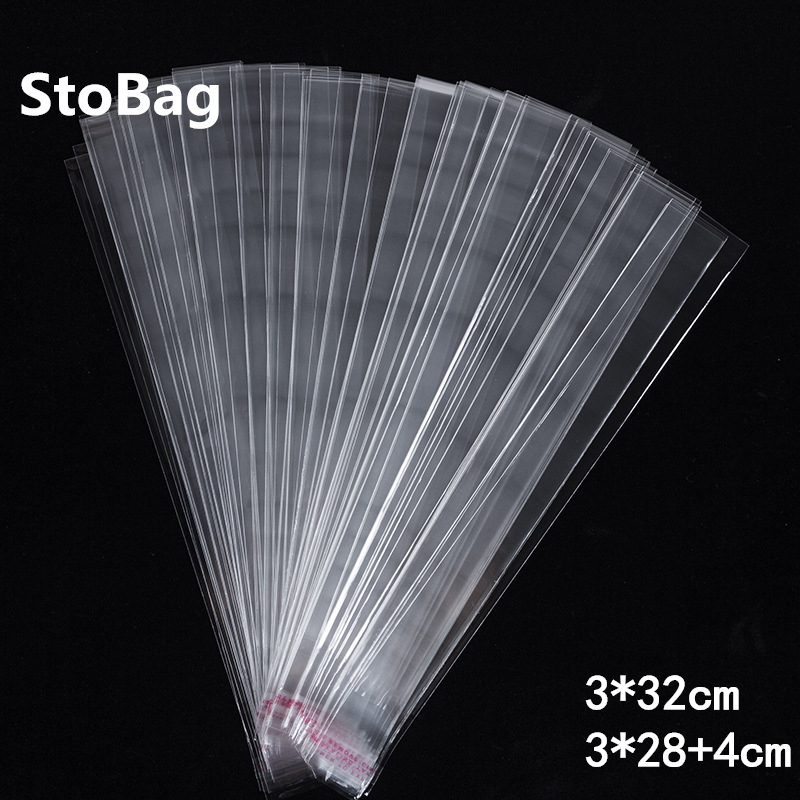 StoBag 1000pcs 3*32cm Clear Plastic Self Adhesive Bag Self Slender Bag Small Pen Jewelry Packing Bag Gift Wrapping Supplies