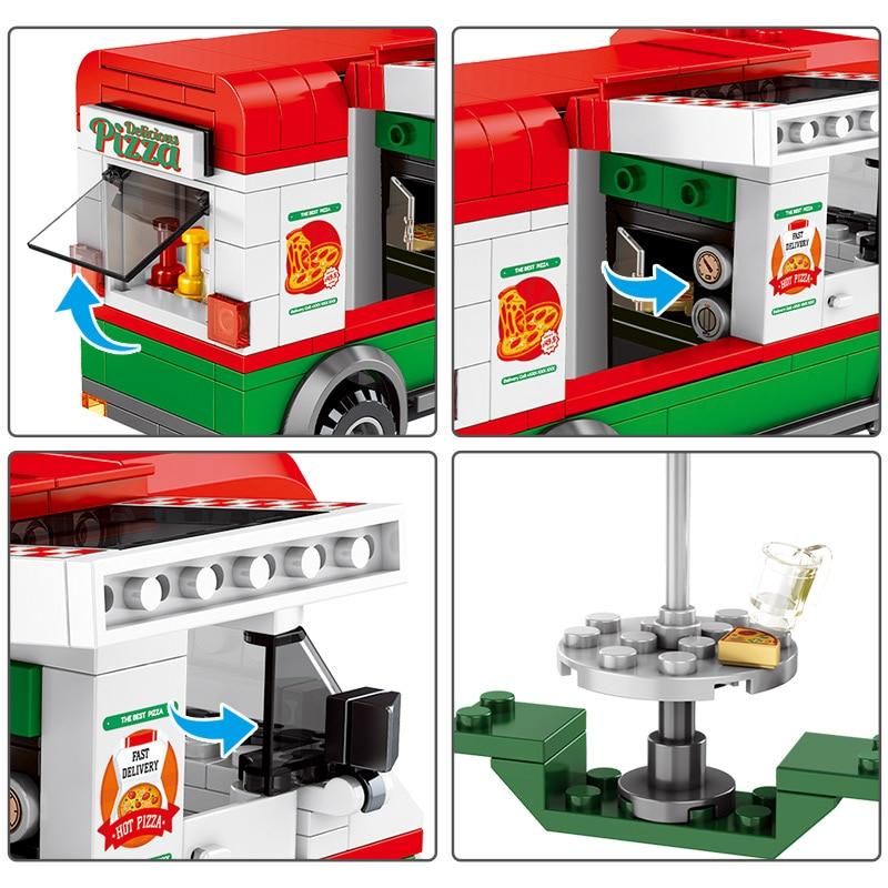 SEMBO Pizza Takeaway Car Building Blocks