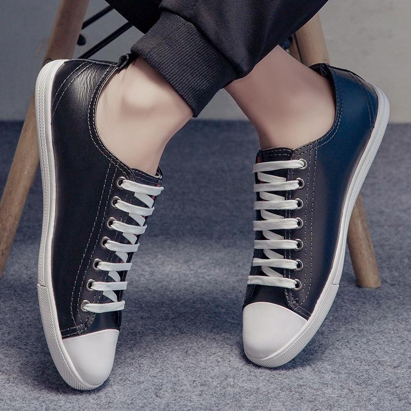 Купить с кэшбэком Men loafers Size 38-46 Men's Leather Casual Shoes Autumn Genuine Leather Shoes Men Fashion black Men shoes leather