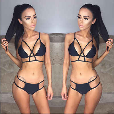 Wanita Membalut Warna Solid Halter Backless Push Up Empuk Bikini Set Swimwear Swimsuit Memandikan Beachwear Brasil Biquini