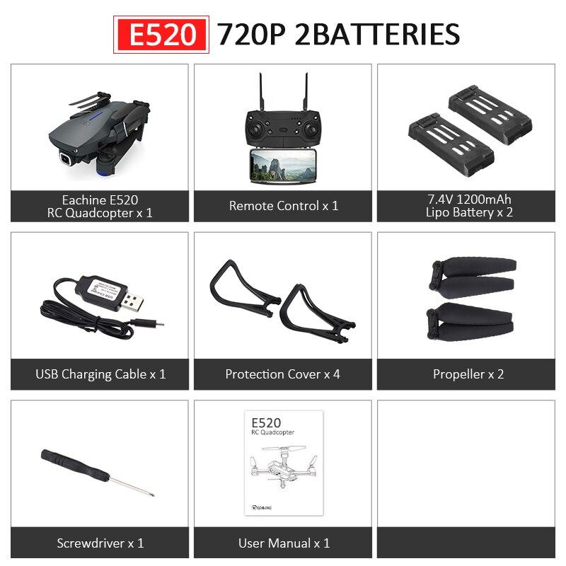 Eachine E520S E520 gps FOLLOW ME wifi FPV Квадрокоптер с 4 K/1080 P HD широкоугольная камера Складная Высота удержания прочный Радиоуправляемый Дрон - Цвет: E520 720P 2Batteries