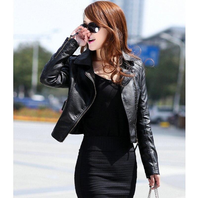 Women's Motorcycle Winter Faux Leather Sheepskin Bomber Jacket Black Short Coat Female PU Simply Add Shrug Clothes Spring Autumn