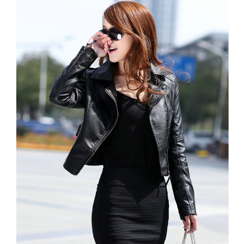 Women's Motorcycle Winter Faux   Leather   Sheepskin Bomber Jacket Black Short Coat Female PU Simply Add Shrug Clothes Spring Autumn