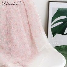 1yard Fashion pink organza embroidery small flower net yarn lace fabric diy wedding dress skirt costume materials home decora