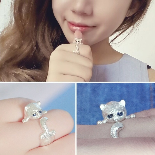 Glamour Wrapped Cat Open Ring Female Handmade Original Fashion Girl Prevents Allergic Silver Jewels 3