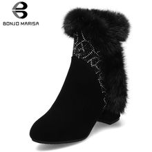 BONJOMARISA New Big Size 31-43 Fashion Crystals Booties Ladies Elegant Black Ankle Boots Women 2019 High Wide Heels Shoes Woman