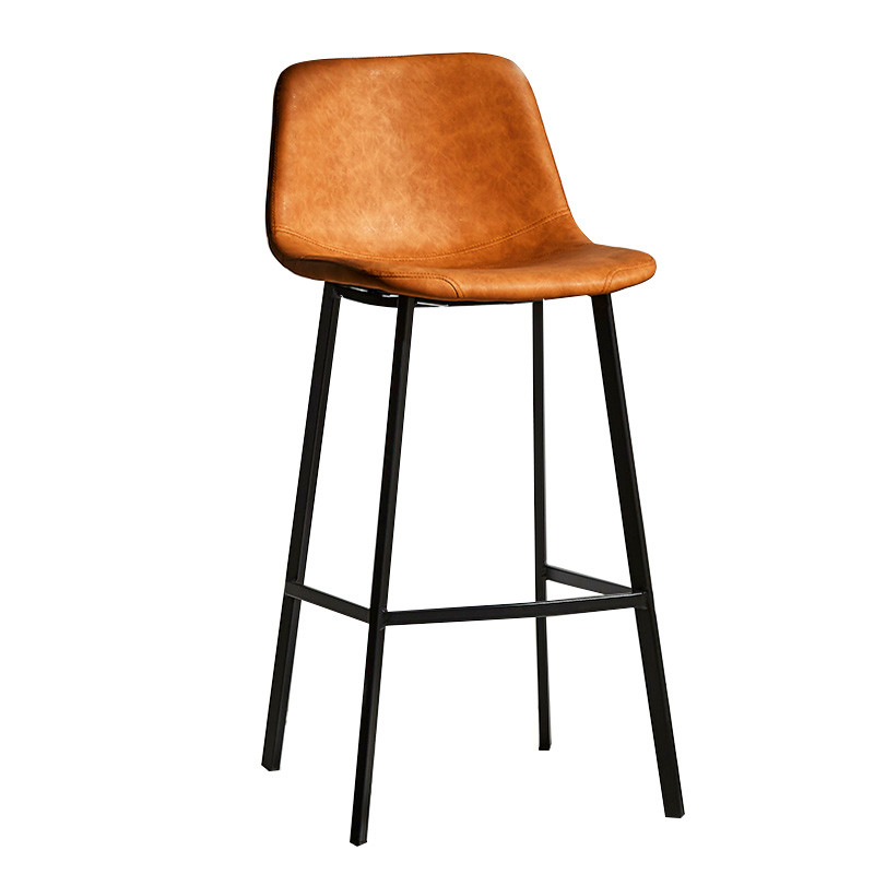 Nordic Iron High Stool Leisure Coffee Shop Backrest Metal Bar Chair Household Simple Bar Stool Dining Chair