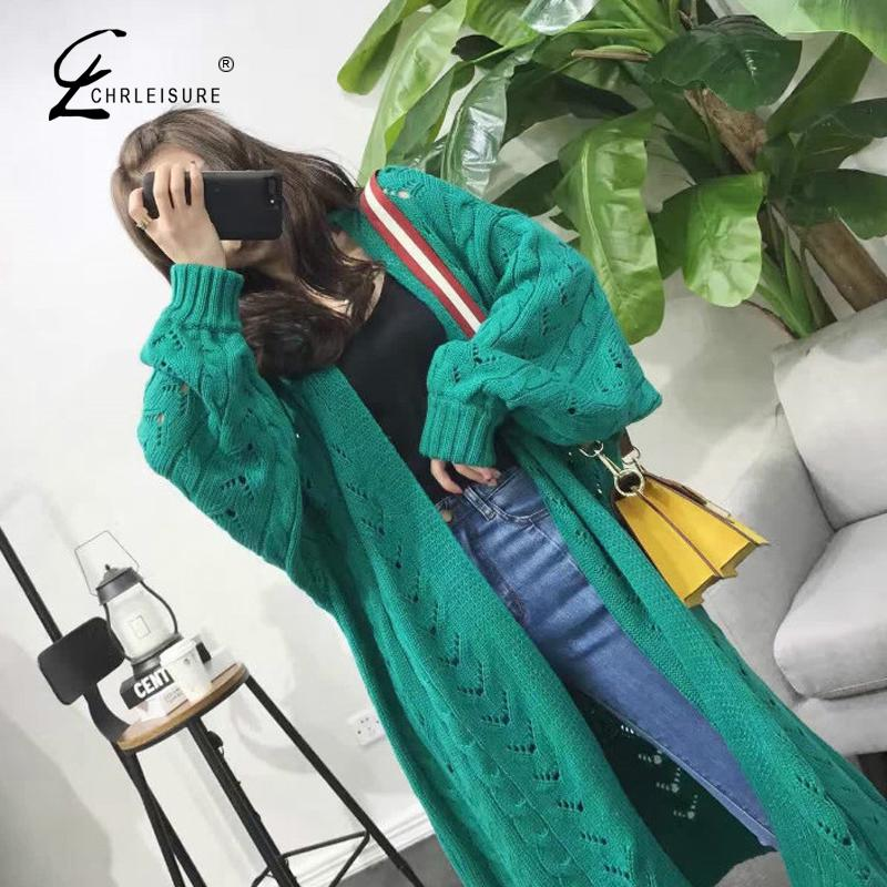 Chrleisure Autumn Casual Knit Cardigan Sweater For Women Fashion Hollow Long Sleeve Female Sweater Fashion Woman's Sweater Coat