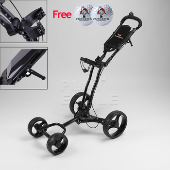 Golf Cart lightweight and foldable, with fixed-point brake umbrella holder 4-wheel golf push cart Aluminum alloy Golf Trolley