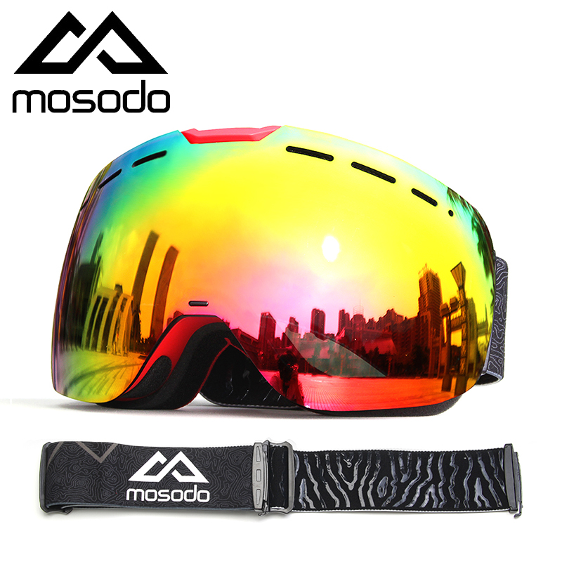 Mosodo Magnetic Ski Goggles Magnet Snowmobile Anti-fog Skiing Eyewear Snow Large Spherical Winter Ski Glasses Brightening Len