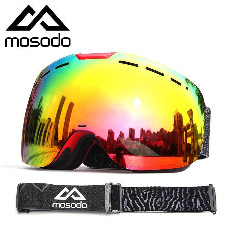 Mosodo Magnetic Ski Goggles Magnet Snowmobile Anti-fog Skiing Eyewear Snow Large Spherical Winter Ski Glasses Brightening Len