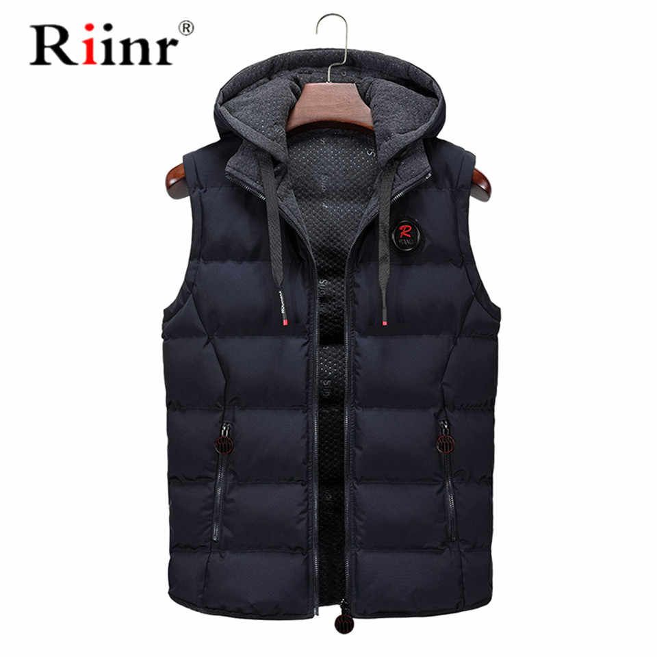 Riinr new mens jackets 민소매 조끼 겨울 남성 따뜻한 코튼 조끼 옴 캐주얼 thicken waistcoat casual coats