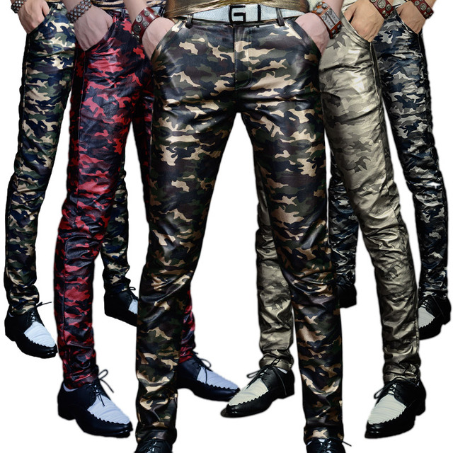 Men 's Leather Trousers Trousers Slim Pants Autumn New Camouflage PU Leather Pants Military Youth Men Pants Casual Shiny Pants 1
