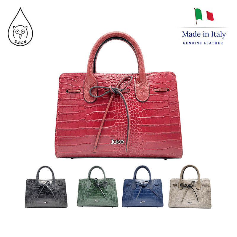 JUICE, Made In Italy, Genuine Leather, Women Bag,handbag,Cocco Print Leather,112177.412
