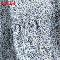 Tangada 2021 Summer Fashion Women Flowers Print Halter Dress Sleeveless Ruffles Female Casual Long Dress SL06 3