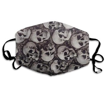 Mouth Mask Swimmers Skulls Print Masks - Breathable Adjustable Windproof Mouth-Muffle, Camping Running for Women and Men chic skulls and stripes pattern voile pashmina for women
