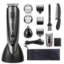 4в1 профессиональная Водонепроницаемая машинка для стрижки волос триммер для бороды Триммер для волос Машинка для стрижки волос стрижка для мужчин комплект для ухода