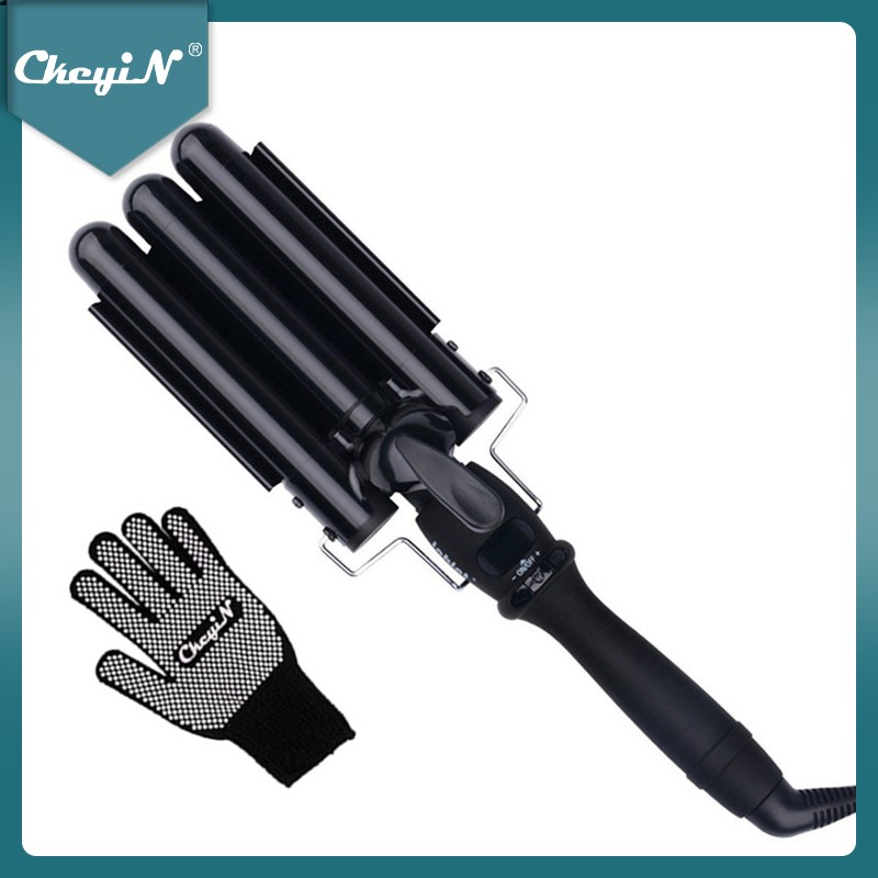 CkeyiN 19MM/22MM/25MM Hair Curlers Three Pipe Joint Triple Barrels Curling Iron Wand Electric Hair Curly Big Wave Styling Tool