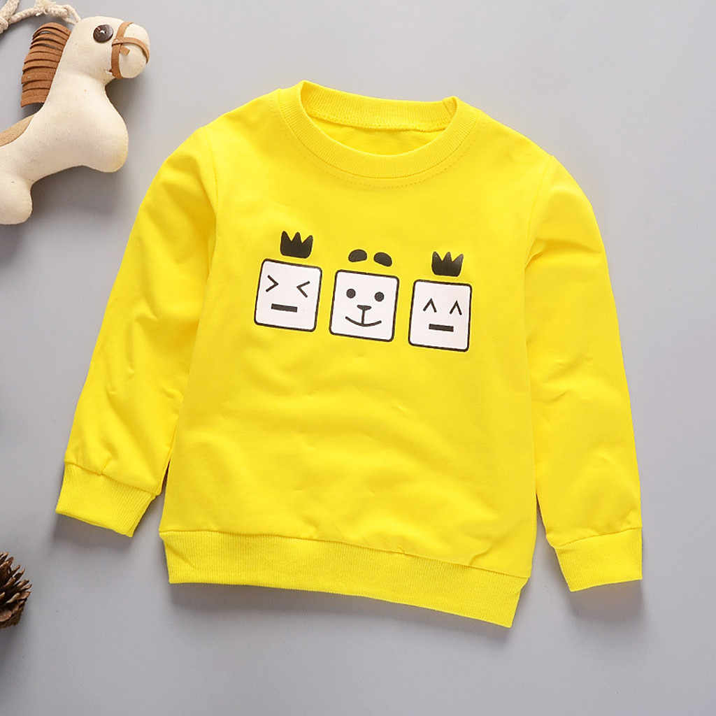 2019 Toddler Baby Boy Girl Sweatshirt Kids Hoodies Cartoon Letter Long Sleeve Sweatshirt Pullover Tops Children t shirt Clothes