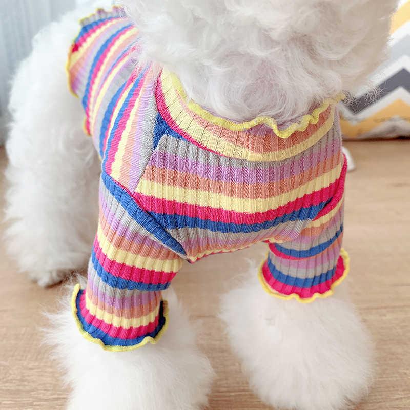 Primavera Della Banda Arcobaleno Pet Vestiti Del Cane Cucciolo Del Cane Del Cotone Maglione Della Camicia Con Cappuccio Per Cani di Piccola Taglia Media Pug Bulldog Francese Chihuahua