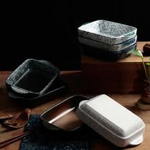 Plat de cuisson en céramique de style japonais, ustensiles de cuisson rectangulaires, poêle à rôtir avec poignée, four de cuisine