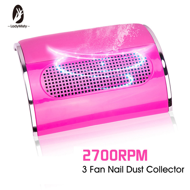Powerful 3 Fan Nail Dust Suction Collector with 2 Dust Collecting Bags  Vacuum Cleaner Manicure Tools