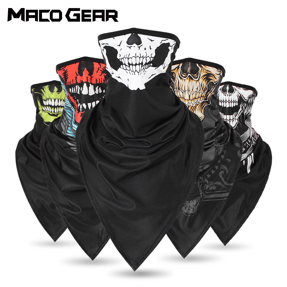 Multifunctional Skull Triangle Scarf Cycling Bandana Sport Camping Hunting Running Bicycle Neck Warmer Face Gaiter Cover Men