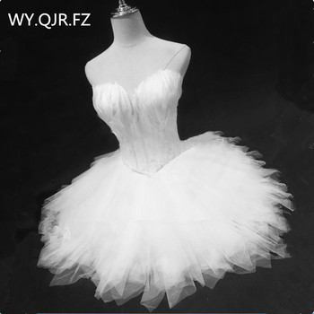 QNZL90#Black White Evening Dresses Short Feather Bra Skirt Birthday Prom Party Cocktail Dress Ballet Puffy Dress Lace Up Girls