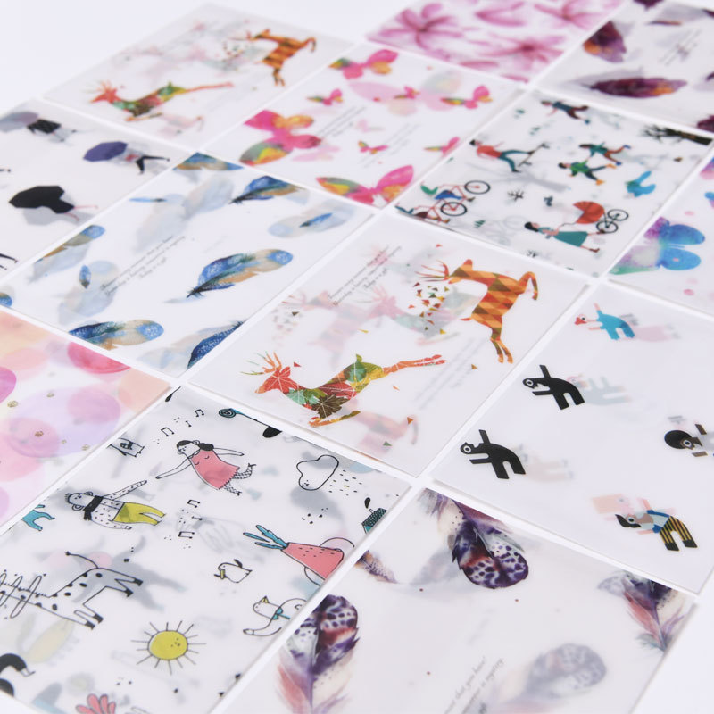 Europe And Korea Stationery Creative Cartoon Hipster Translucent Sulfuric Acid Paper Handmade Envelope + Adhesive Paper Gift Car