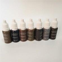 7 Pcs Tattoo Ink Pigment Kit Permanent Make-Up Mikropigment für Augenbraue Eyeliner Kunst Braun Schwarz Schokolade Grau Farben