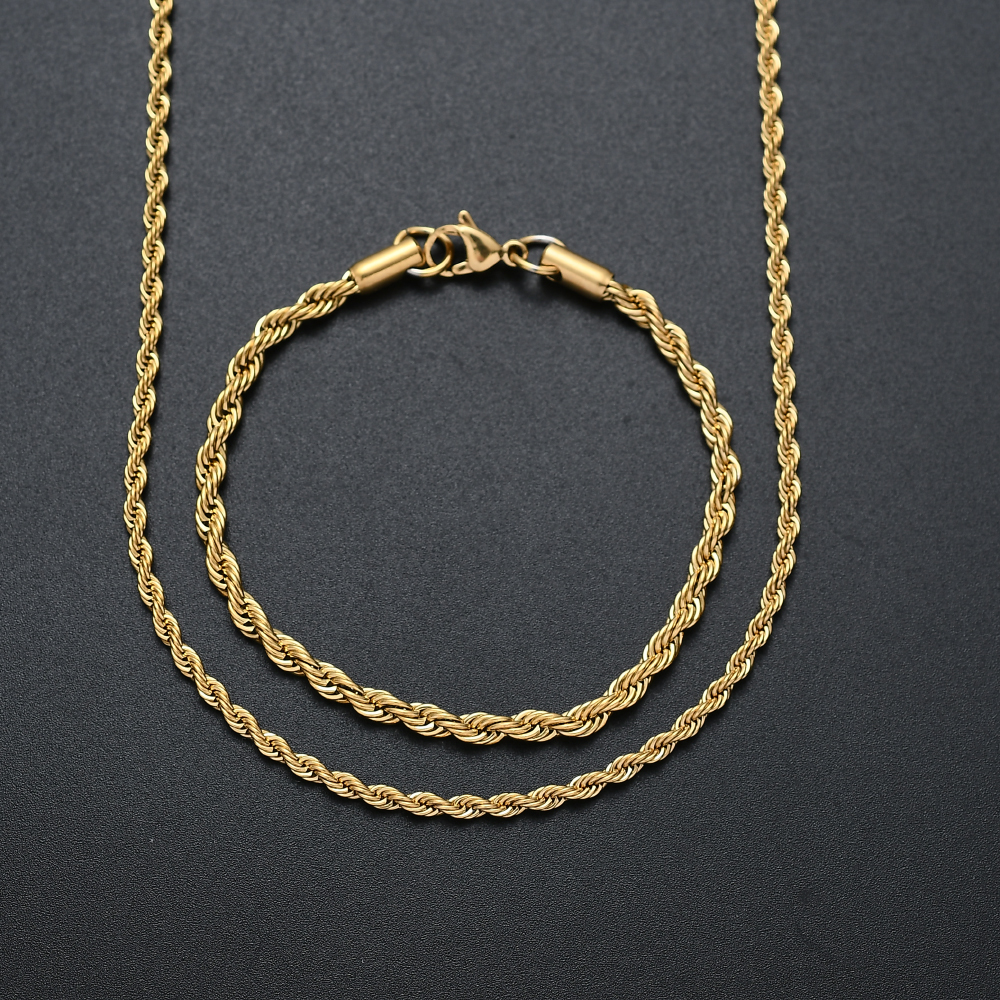 316L Stainless Steel Gold Color Twist Link Necklace & Bracelet Fashion Jewelry Set Titanium Steel Plated Gold Chain For Men
