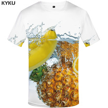 цена на KYKU Pineapple T-shirt Men Fruit Shirt Print Harajuku T-shirts 3d Beer Funny T shirts White Tshirt Printed Mens Clothing
