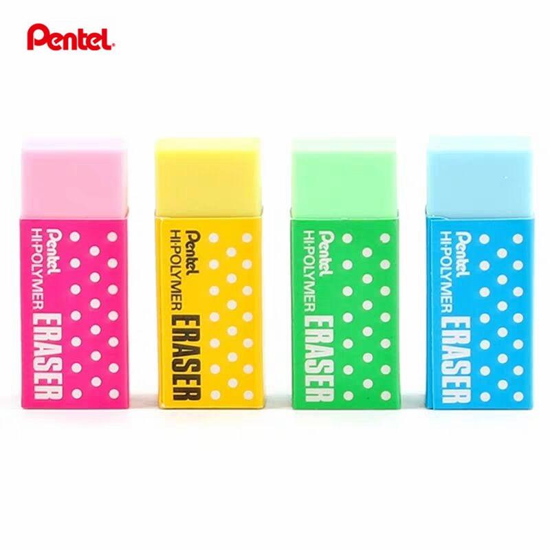 4Pcs Pentel  ZEH-05CM  Hi-Polymer Eraser  Rubber Drawing Pencil Eraser Yellow/Pink/Blue/Green Colors
