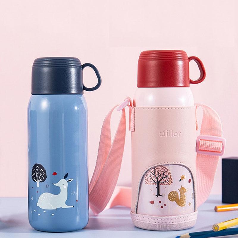 bonito garrafa térmica dos desenhos animados copo com saco