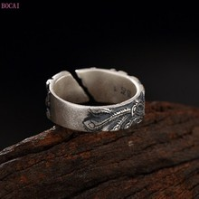 S990 pure silver rings for women and men  retro Phoenix peony ring pure silver lady opening thai Silver Ring 2020 new fashion