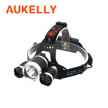 Super bright LED headlamp XM T6x3 LED Rechargeable Headlight long range Flashlight Torch Lamp Camping Fishing lantern Use 18650