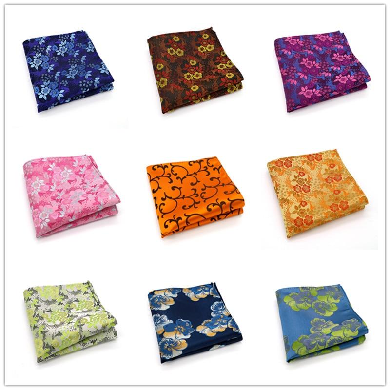235-B15 Mens Wedding Pocket Square 100% Silk For Suit Tie Cravat Men's Handkerchief Accessories Jacquard Solid Floral Pattern
