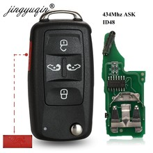 Jingyuqin 5K0837202AD 434 ميجا هرتز ID48 5 أزرار الوجه مفتاح فوب ل VW شاران Multivan كارافيل مفتاح السيارة التحكم عن بعد استبدال