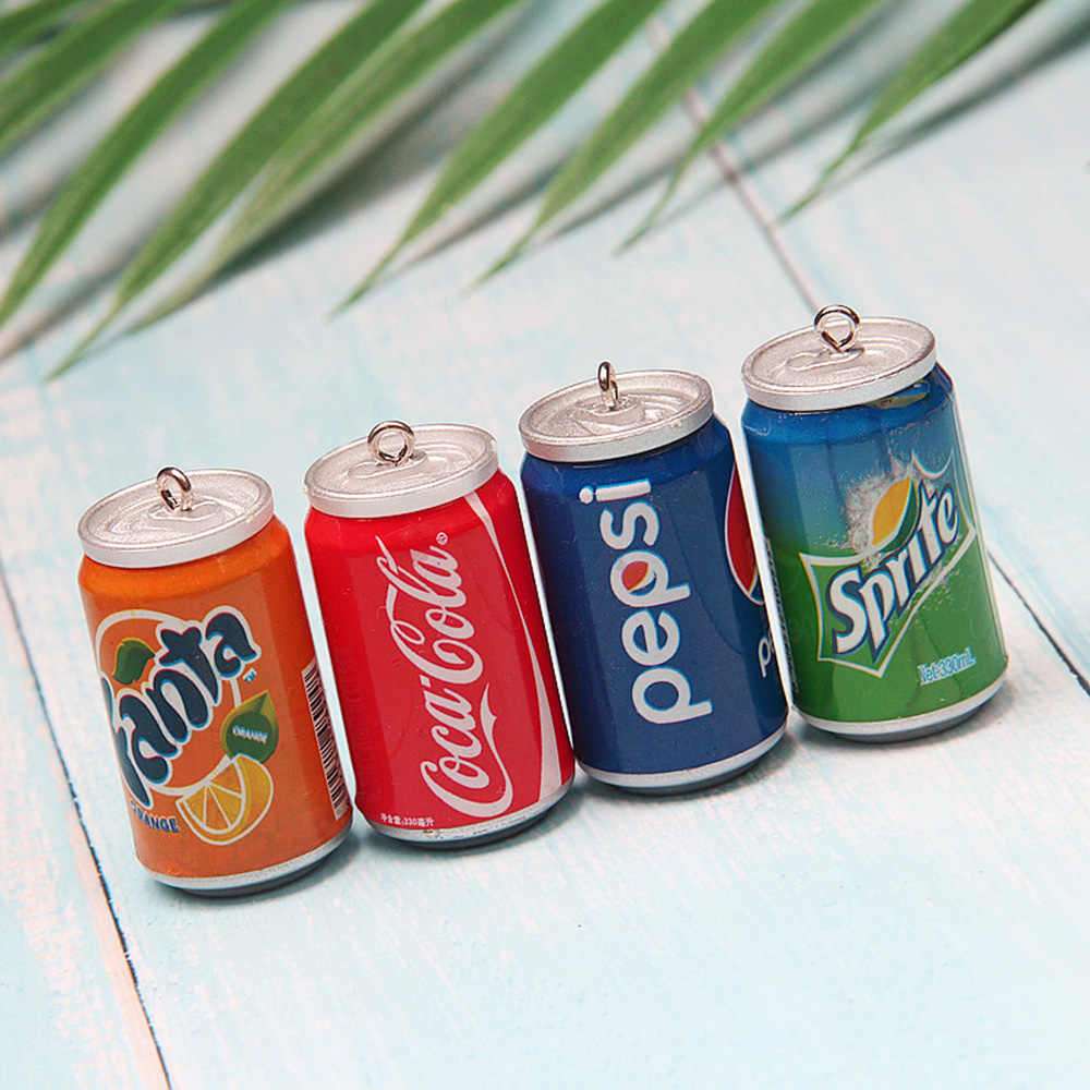 Yamily 6pcs/ 22*4mm Slime Charm Sprite Becker Cola Cans Slime charm pendant Making Supplies With Drawstring Pouch For DIY