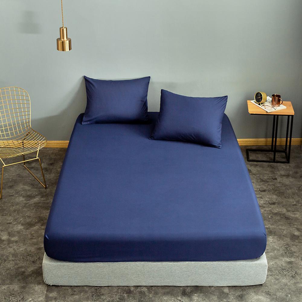 Bonenjoy 1pc Black Color Fitted Sheet Single/Queen/King Size drap de lit Bed Sheet Sets Solid Double Bed Sheets (no Pillowcase) 9