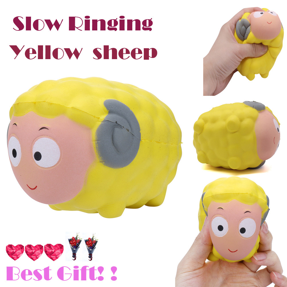 1PC Cute Yellow Simulation Sheep Toy 1PC Grape Cake Cented Charm Slow Rising Squeeze Stress Reliever Collection  Toy L0116