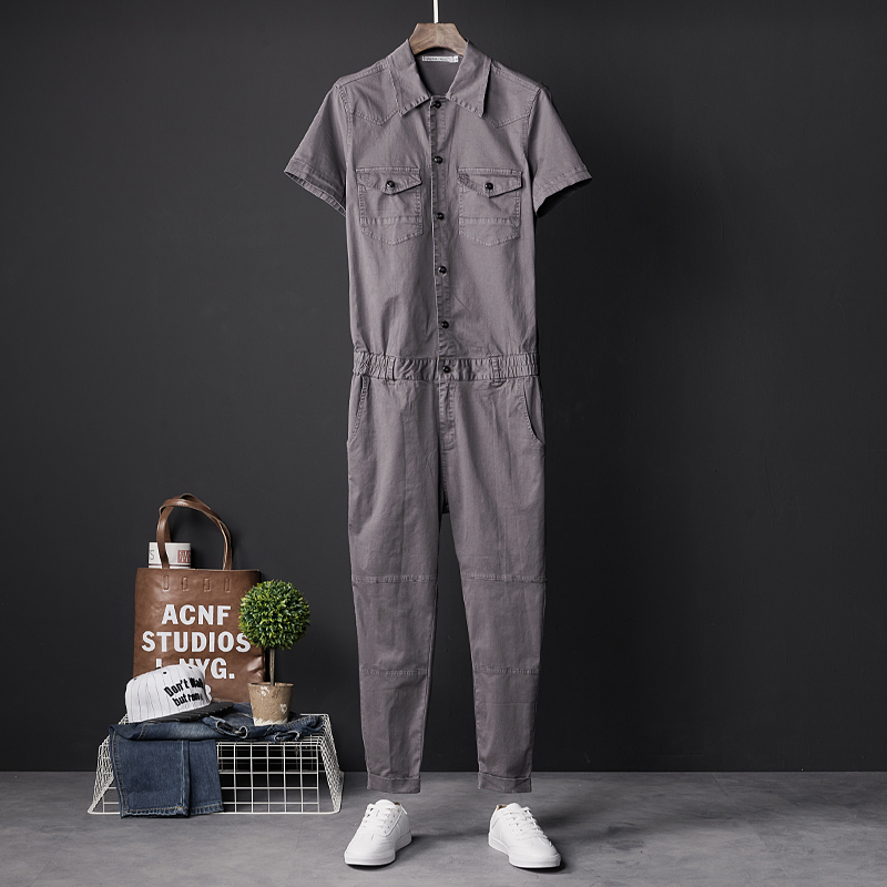 Japanese Siamese Overalls Men's Slim Casual Nine Pants Korean Style Couple Personality Jumpsuit Pants