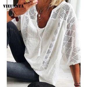 Plus Size V-neck Tassel Cotton Linen Blouses Women 2020 Spring Three Quarter Sleeve Lace Shirt Summer Loose Chic Tops Feminina
